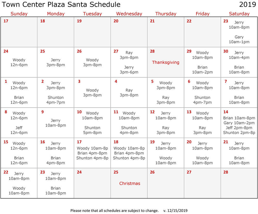 Town Center Plaza Photos with Santa Schedule Calendar 2019
